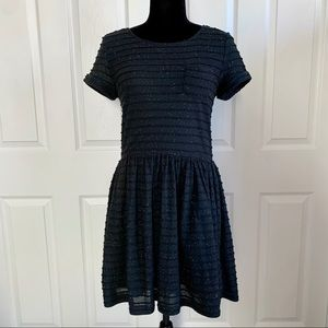 Yumi Black and neon Speckled Cotton Babydoll Dress